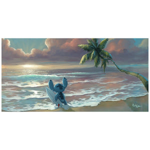 Waiting for the Waves by Rob Kaz.  Stitch is waiting with his surfboard in hand for the perfect wave.