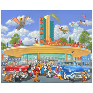 Walt's Drive-In by Manuel Hernandez.  Back in the 60's, a cool dressed Mickey and his friends hang-out at drive-in awaiting for Minnie in roller skates to deliver their refreshments.