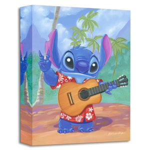 Warm Aloha by Manuel Hernandez.  Stitch sports a red floral hawaiian shirt with a guitar in hand.