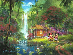 Mickey and Minnie stroll through the lash beautiful tropical green garden of Hawaii.