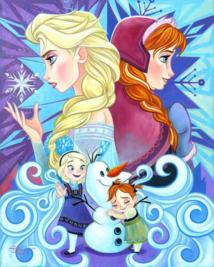 Elsa and Anna share a sisterly bond that is tightly woven, back to back