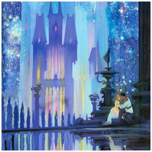 When Stars Collide Of by John Rowe.  Cinderella and her prince sitting in the garden, the castle is all lit up at a distance - closeup