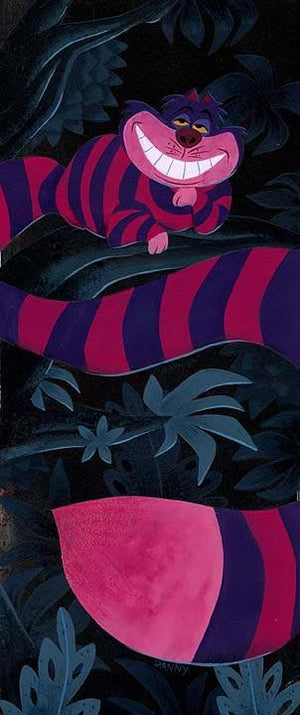 The hot pink and black stripe Cheshire Cat sitting up on a tree limb,
