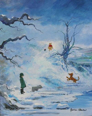 Winter by Peter Ellenshaw  Winnie the Pooh and friends out walking on a winter day, from the Four Seasons Series Collection.