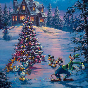 Donald Duck and Goofy are trying to string up the Christmas lights around the tree, while Mickey and Minnie play Pluto on a winter night.