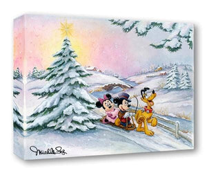 Mickey, Minnie and Pluto enjoy a winter day sleigh ride down the slope.