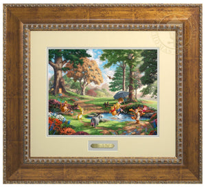 Winnie the Pooh, Christopher Robin, Eore, Kanga, Rabbit, Roo, Tigger, another day of fun, with friends, as Christopher and Pooh, play in the creek, kicking and splashing the water around - Antiqued Gold Frame