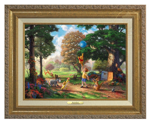Winnie the Pooh II - Christopher Robin, Winnie the Pooh and the delightful menagerie of friends as they all adventured in the Hundred Acre Wood - Antique Gold Frame.