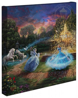 The fairy godmother grants Cinderella her wish, an enchanted transformation, her flight from discovery at the King's ball or her time in love with the prince of her dreams.