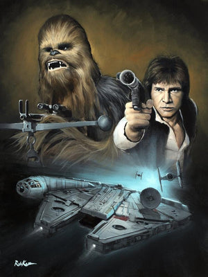Portrait featuring Han Solo, Chewbacca and the Millennium Falcon.