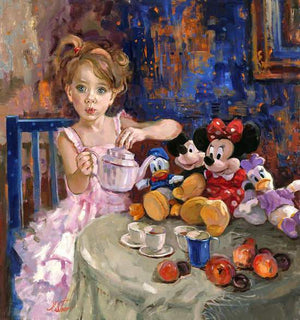 A little girl serving tea to her stuffed friends, Mickey and Minnie.