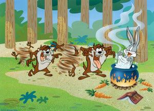 Taz the Tasmanian Devil sneaks up on Bugs Bunny as he baths in a pot.