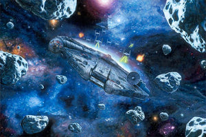 Millennium Falcon going through a landmine of asteriods.