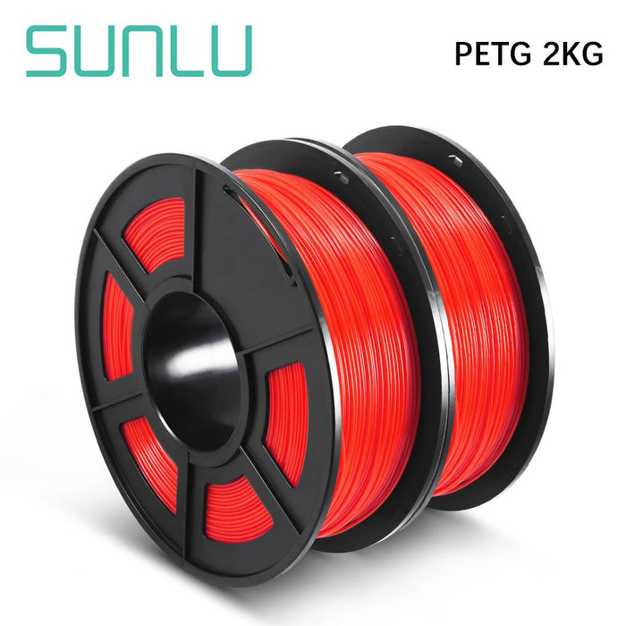 2 Rolls of PETG 3D Filament 1.75mm For 3D Printer 2KG 4.42lb - SunLu 3D