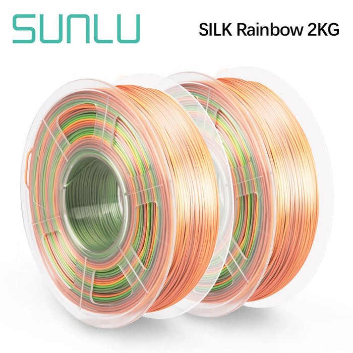 2 Rolls of PLA Silk Rainbow Filament 1.75mm 1kg/2.2lbs - SunLu 3D