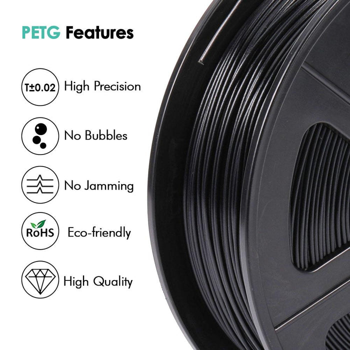 3 Rolls of PETG 1.75mm Filament 3kg/6.6lbs ,Fit Most FDM 3D Printer - SunLu 3D Printer Filament