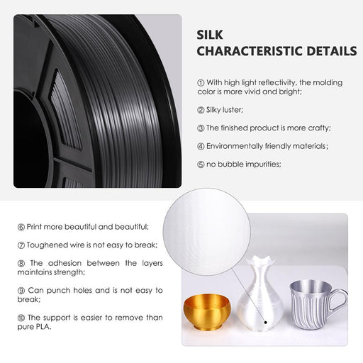 3 Rolls of Silk PLA Filament 3kg/6.6lbs,fits most FDM 3D printer - SunLu 3D Printer Filament
