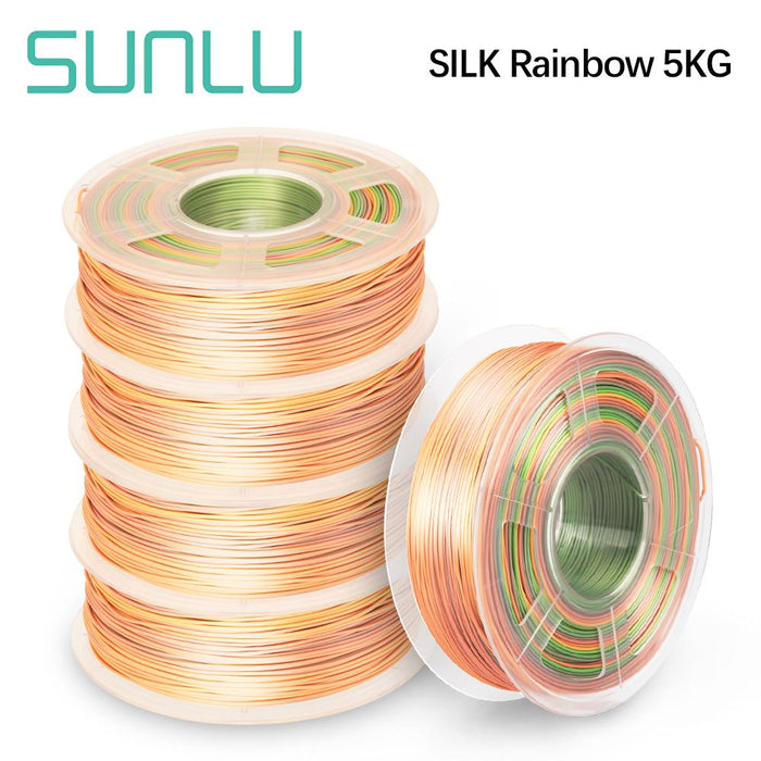 5 Rolls of PLA Silk Rainbow Filament 1.75mm 1kg/2.2lbs - SunLu 3D