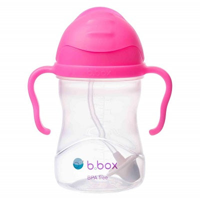 B Box Sippy Cup with Straw Pink Pomegranate