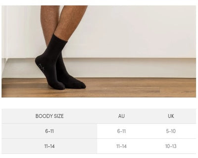 Boody Bamboo Mens Business Socks Size Guide
