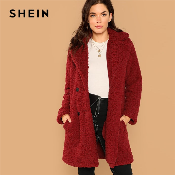 bdcd3fb32f3 SHEIN Burgundy Casual Solid Notched Pocket Double Button Teddy Coat Winter  Thermal Office Lady Fashion Women