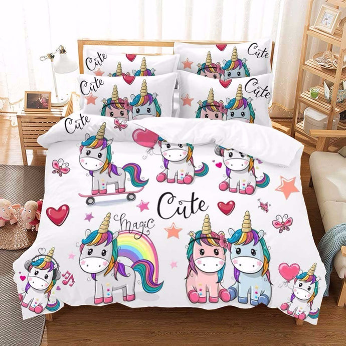 fe24cac546c5 Kawaii Unicorn Bedding Set Single Bed Sheet Set Bed Linen Dovet Cover Set Cartoon  Kids Luxury
