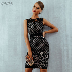 aca12ecb0d4 Adyce 2019 New Summer Bandage Dress Elegant Black Lace Hollow Out Sexy  Bodycon Women Dress Celebrity Club Evening Party Dresses