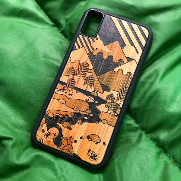 iPhone X case, It's Only Mountains in Bamboo and Paper