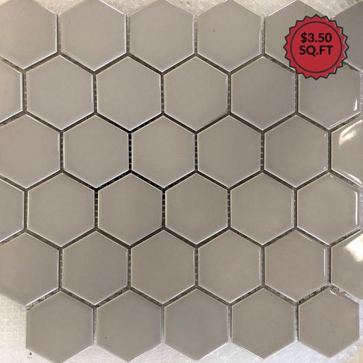 "Gray Gloss 2"" Hex - Mosaic - Mezquite Installations"