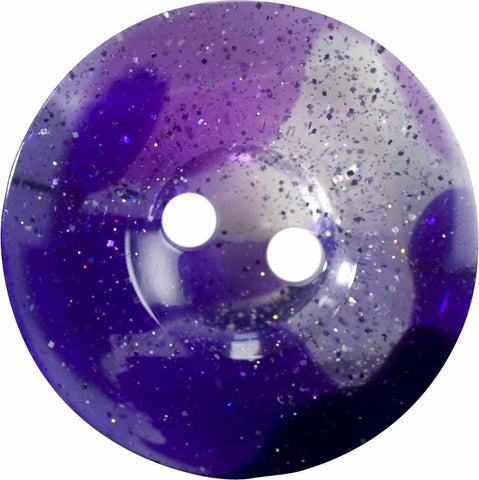 Chunky two hole transparent glitter button.