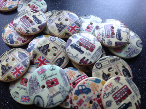 London themed vintage style wooden buttons