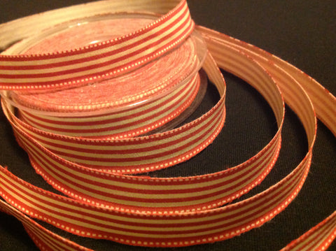 Cream and red Christmas striped ribbon