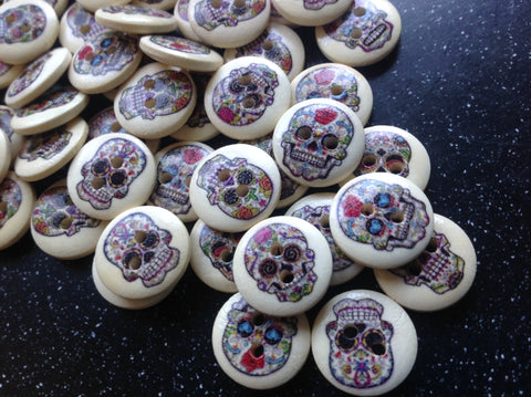 Day of the Dead Sugar Skull style wooden buttons