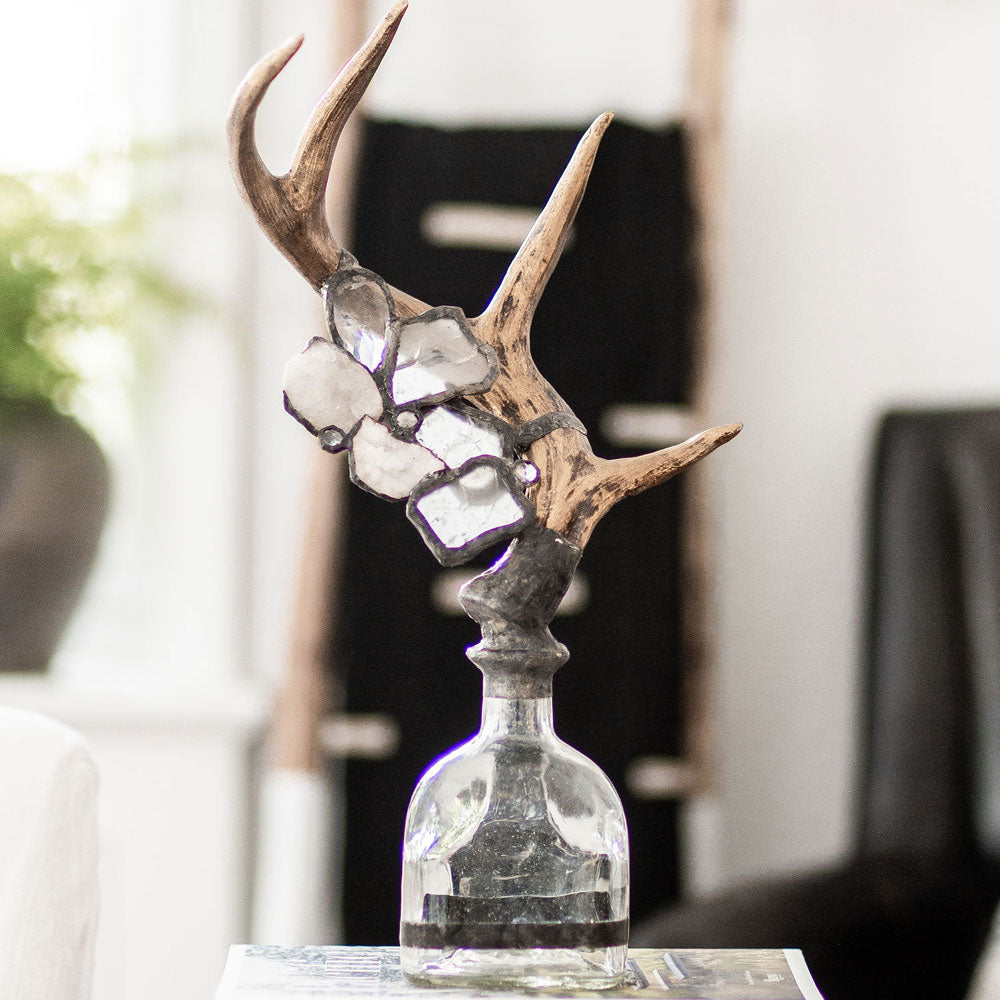 Single Medium Antler Bottle - Clear