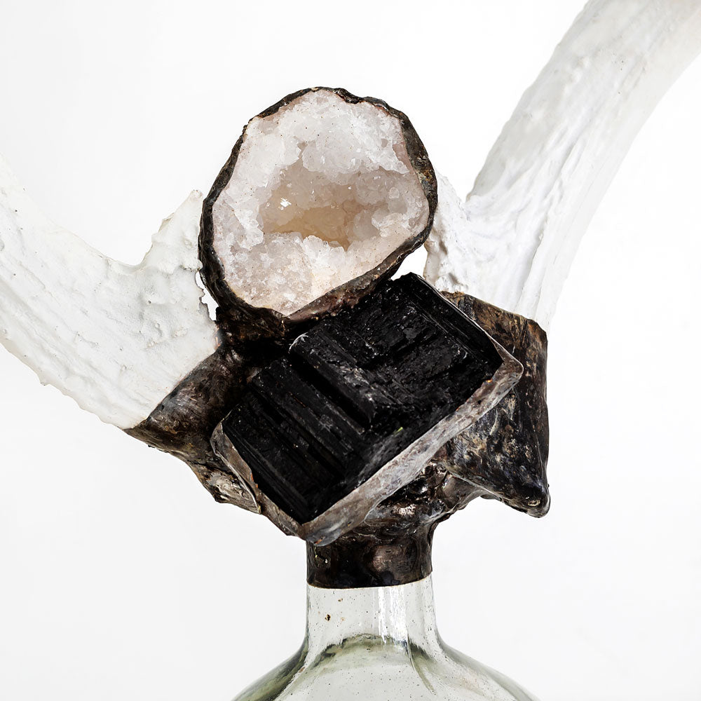 Double Large Tourmaline Antler Bottle