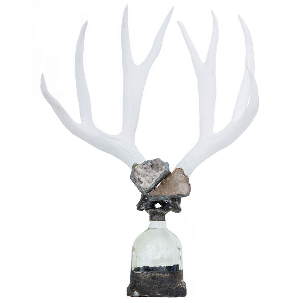 Double Large Geode Antler Bottle - Gold