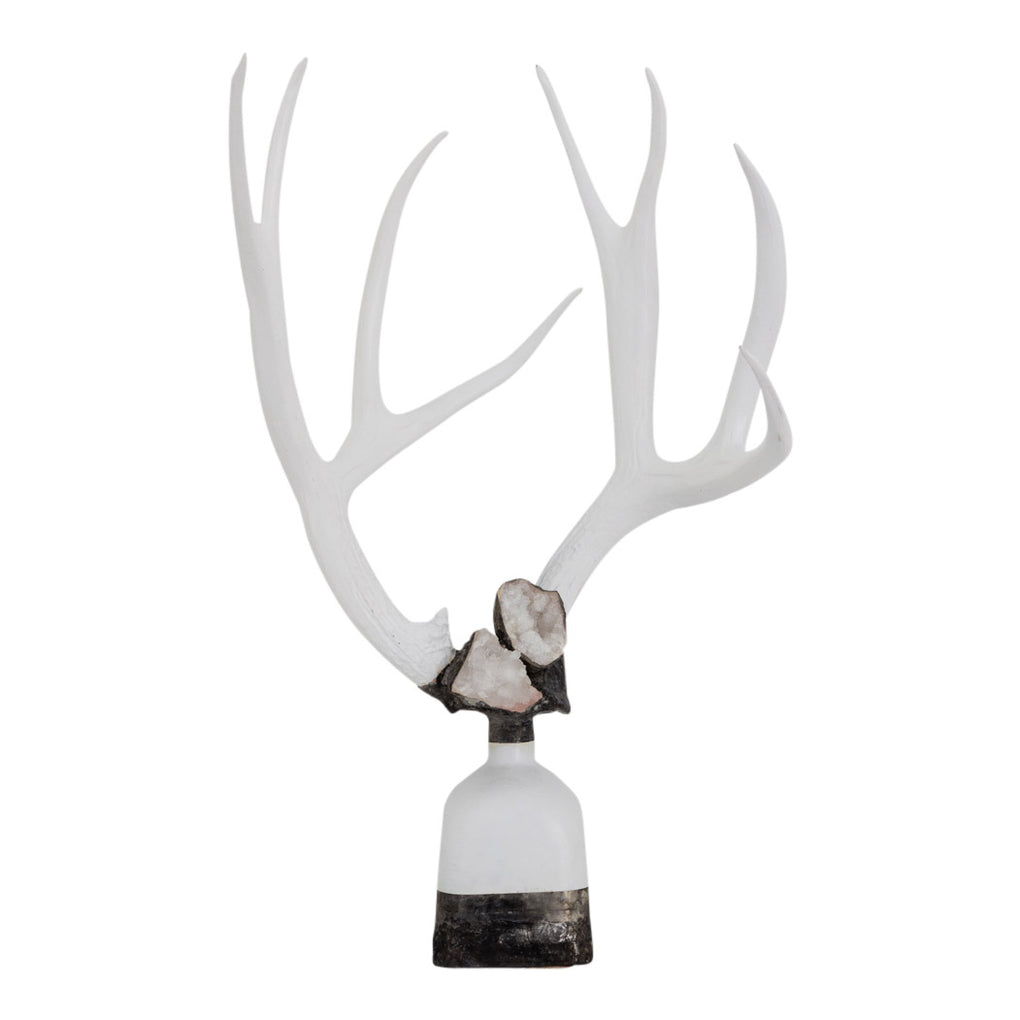 Double Large Geode Antler Bottle - Silver