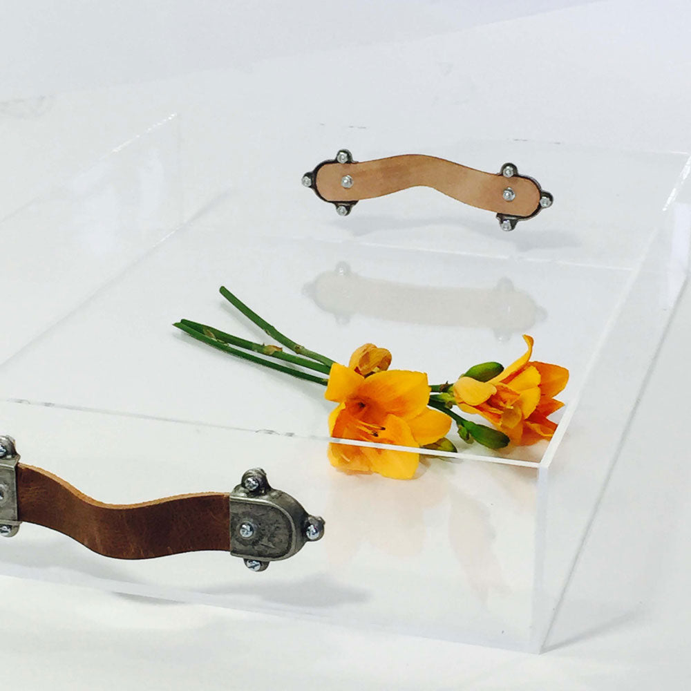 Acrylic Tray with Leather Handles - Large Leather