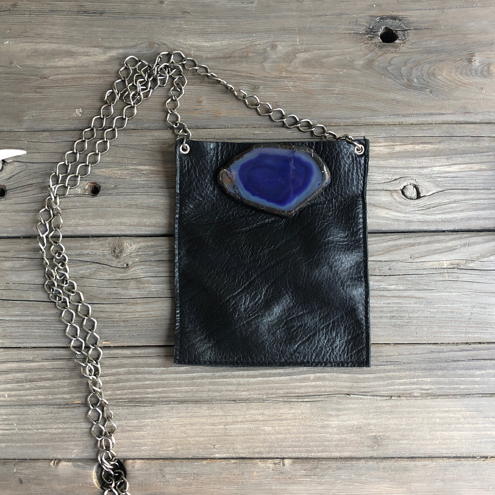 Coco Black Leather - Blue Agate - SOLD OUT