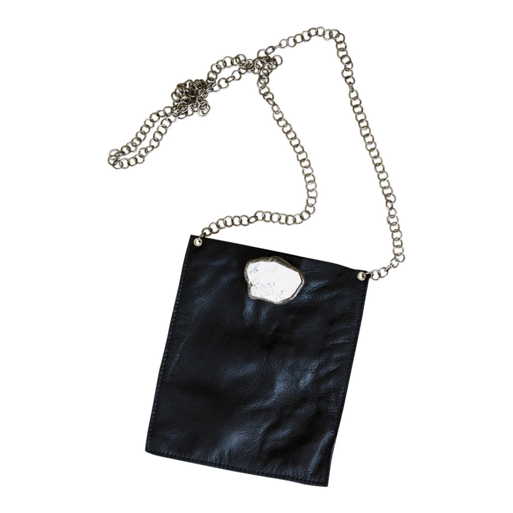 Coco Black Leather Chain Bag - White Stone