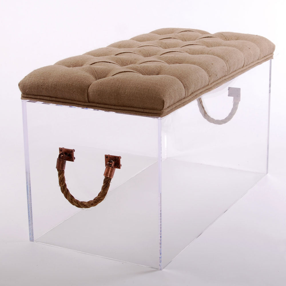 Bella Bench with Cushion (Coffee Table or Bench) - Linen/Velvet