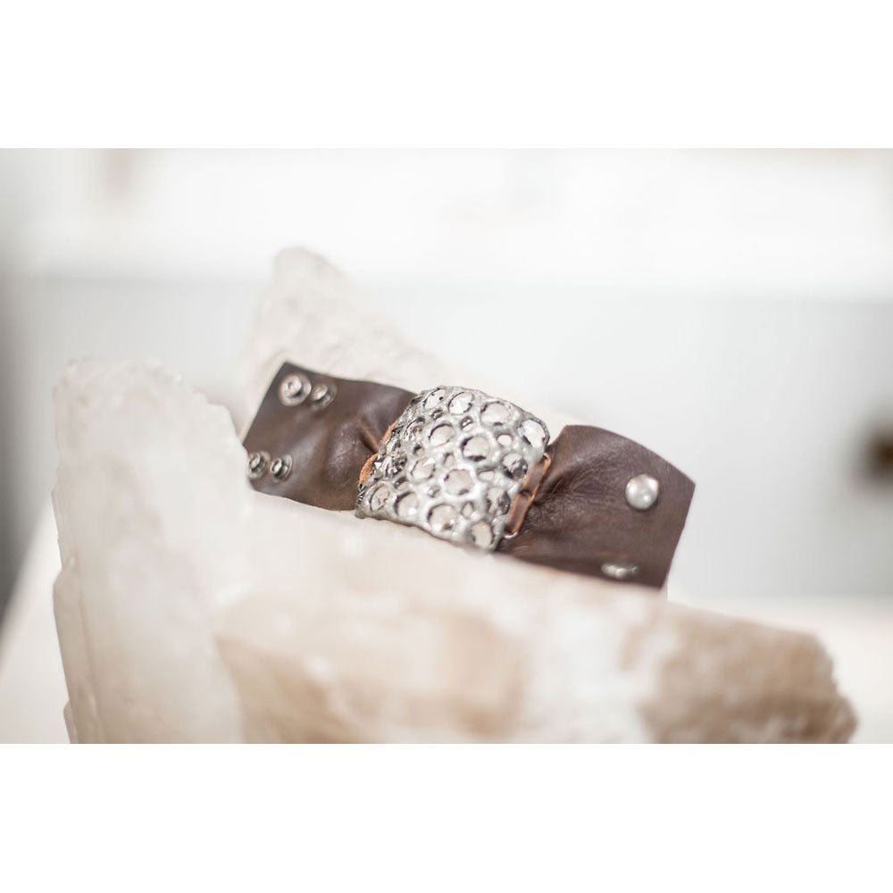 20 Crystal Leather Cuff - Bronze