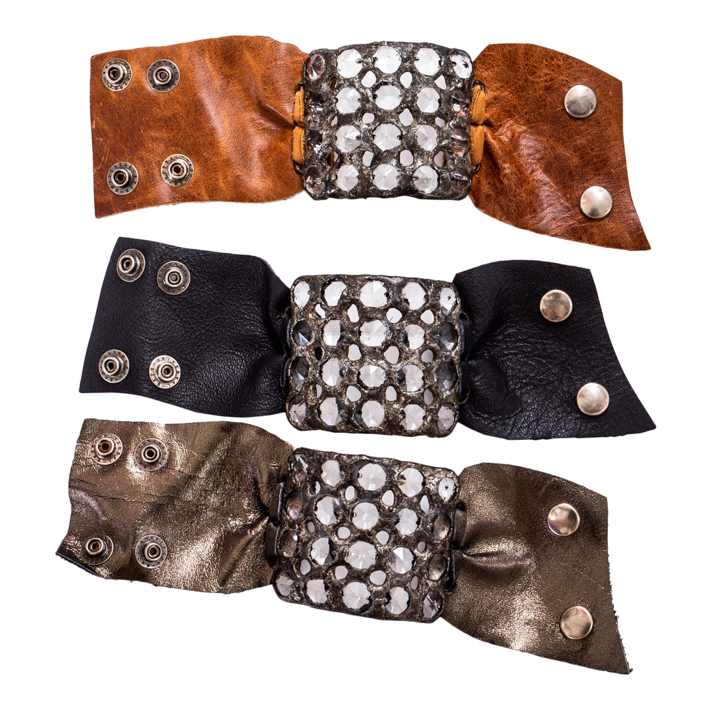 20 Crystal Leather Cuff