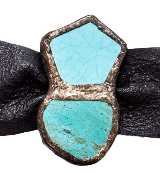Turquoise Cuff - Black Leather Single