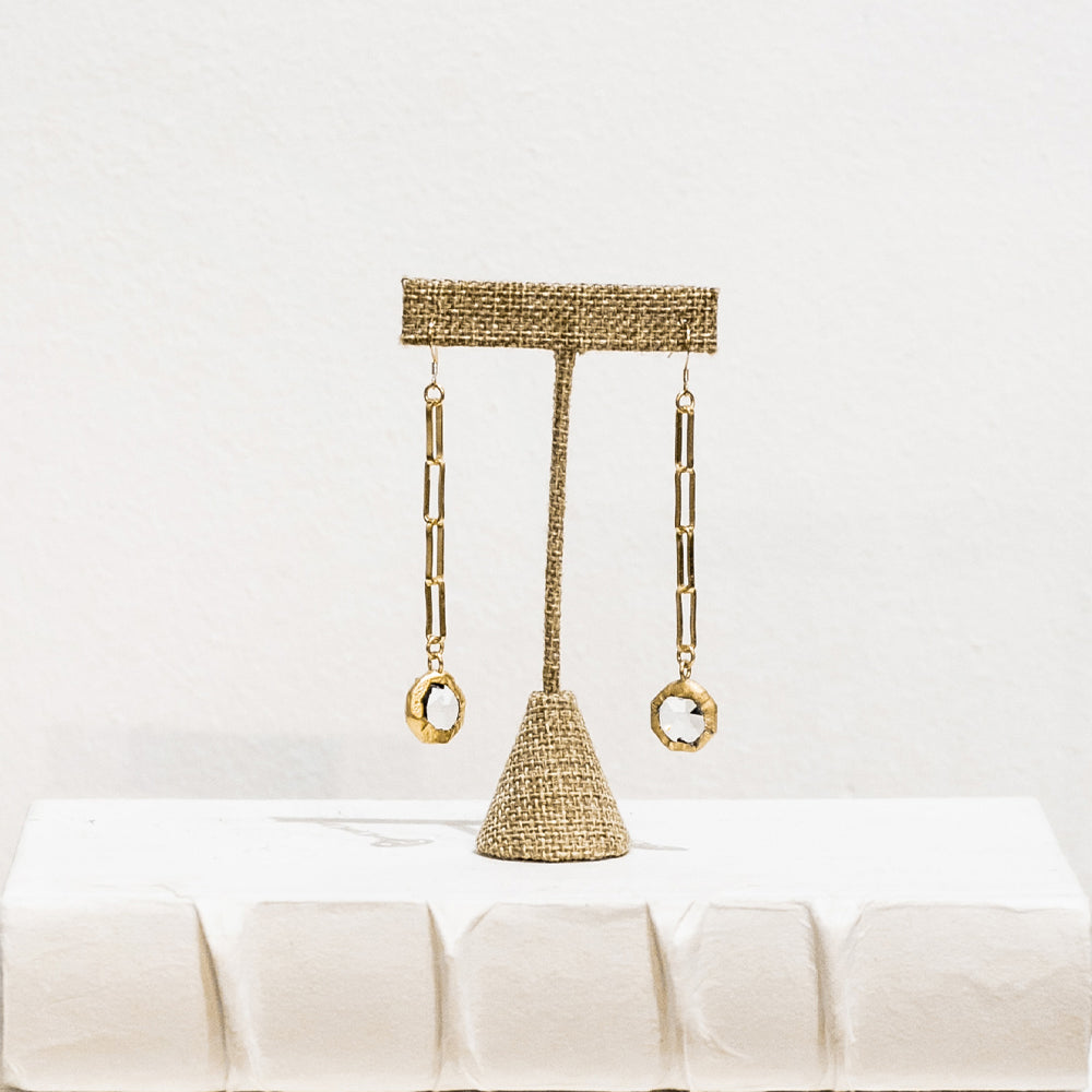 Piper 18 Karat Gold Crystal Earrings