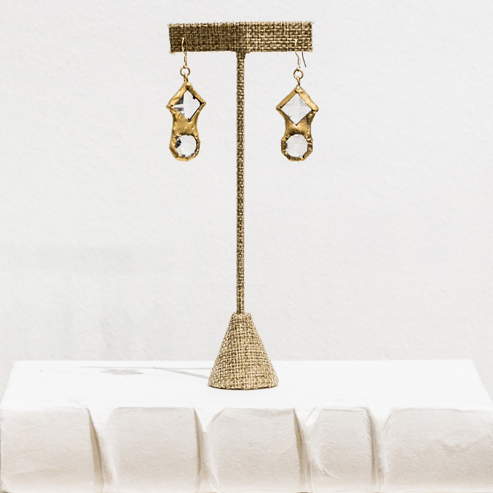 Quinn 18 Karat Gold Crystal Earrings