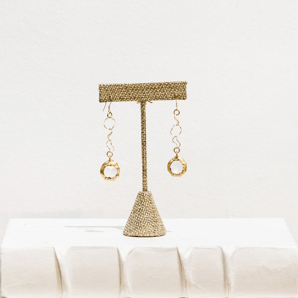 Reagan 18 Karat Gold Crystal Earrings