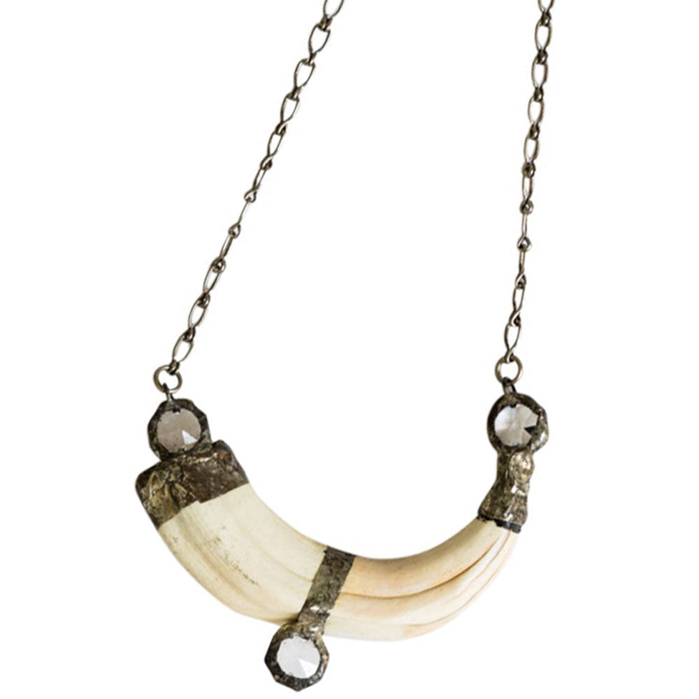 African Tusk Necklace - Crystal - (NCK-AfTusk-Cry ~S98T98)