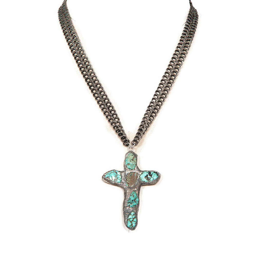 Maya Cross Necklace (Crystals or Turquoise)