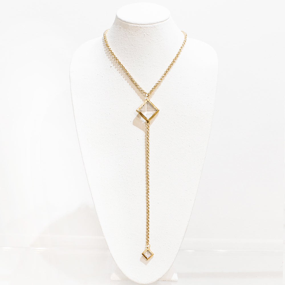 Aubrey 18 Karat Gold Crystal Necklace